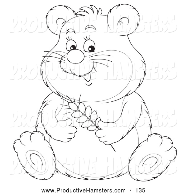 Illustration of a Black and White Cute Chubby Hamster Holding Wheat