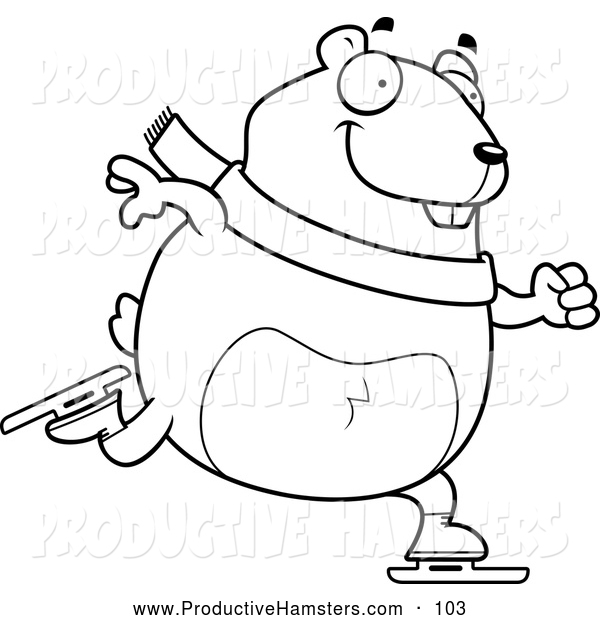 Illustration of a Black and White Hamster Ice Skating