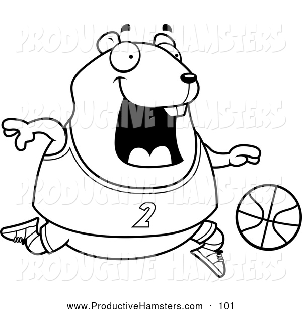 Illustration of a Black and White Outlined Chubby Hamster Playing Basketball