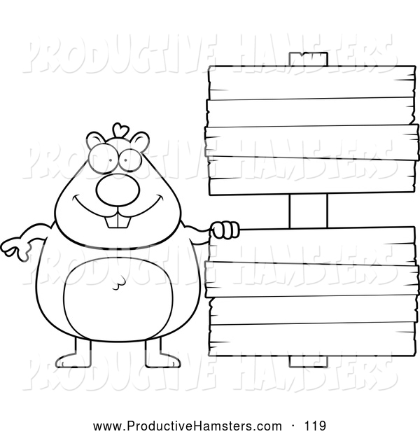 Illustration of a Black and White Outlined Hamster with Wooden Signs