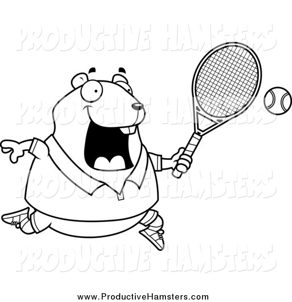 Illustration of a Black and White Plump Hamster Playing Tennis