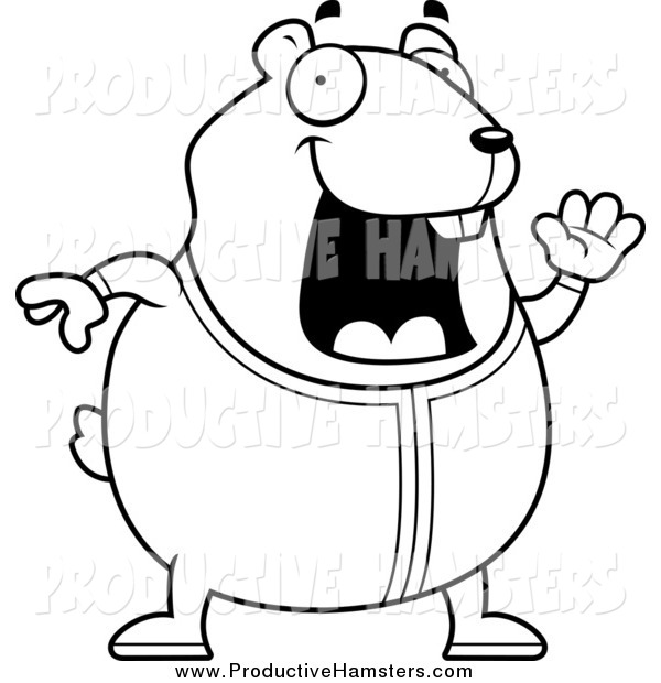 Illustration of a Black and White Plump Hamster Waving in Pajamas