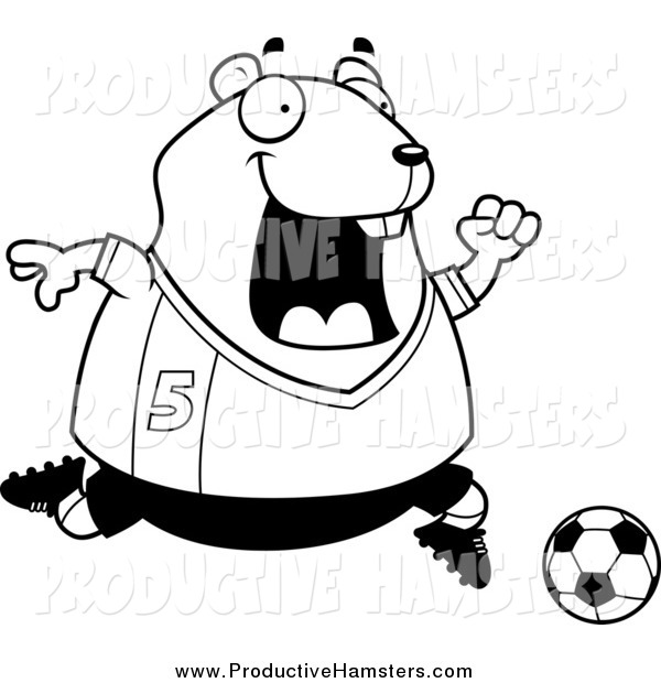 Illustration of a Black and White Sporty Hamster Playing Soccer