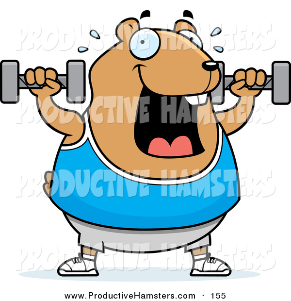 Illustration of a Cartoon Chubby Brown Hamster Working out with Dumbbells