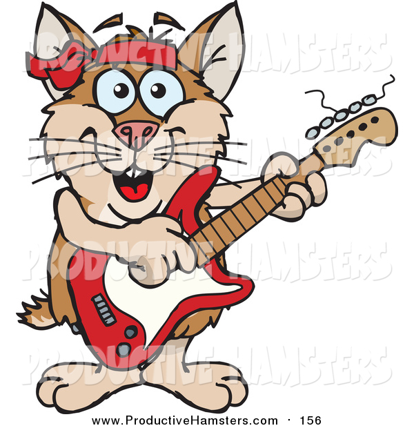Illustration of a Cartoon Happy Brown Hamster Playing an Electric Guitar