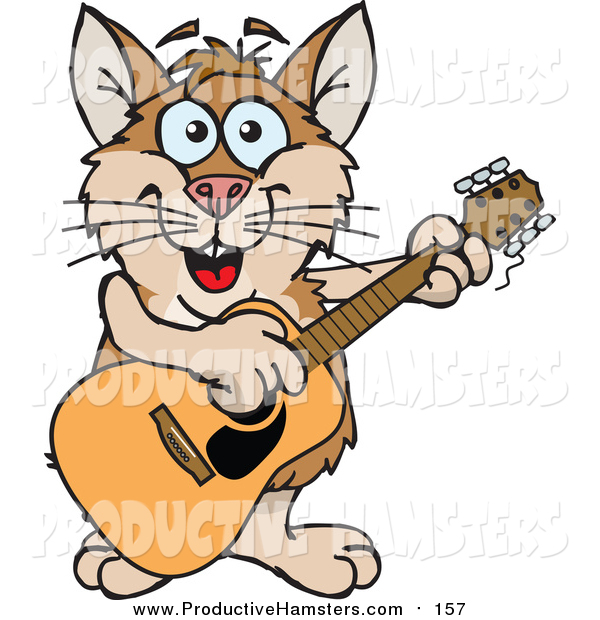 Illustration of a Cartoon Happy Tan and Brown Hamster Playing an Acoustic Guitar