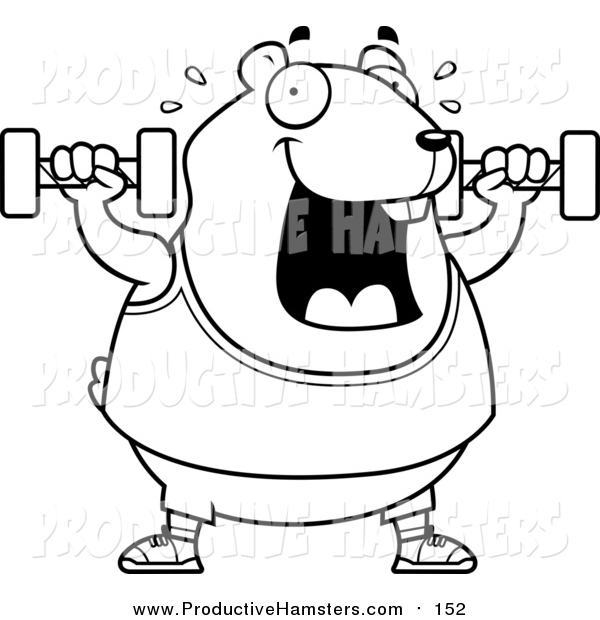 Illustration of a Cartoon Lineart Chubby Hamster Working out with Dumbbells