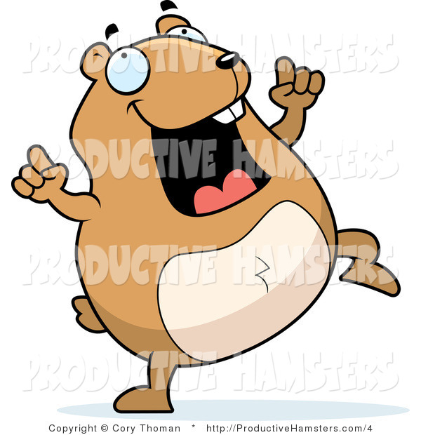Illustration of a Chubby Hamster Doing a Happy Dance