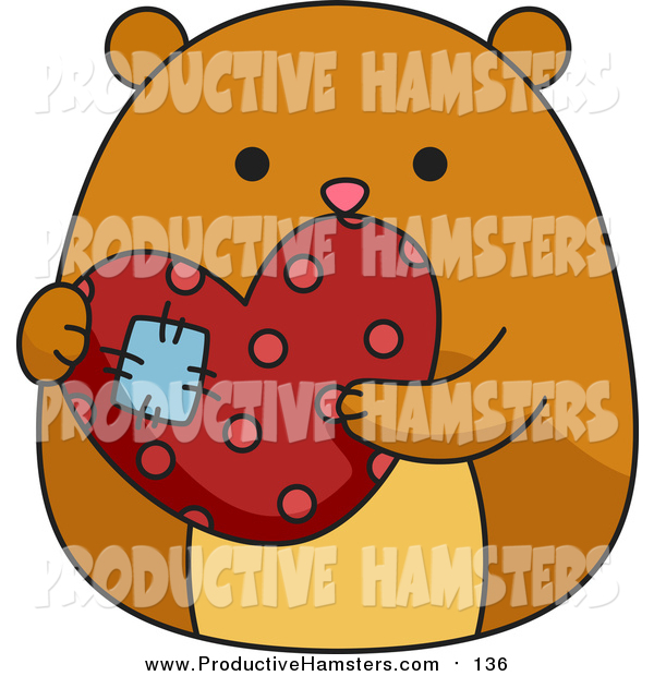 Illustration of a Chubby Hamster Holding a Patched Heart