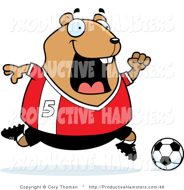 Illustration of a Chubby Hamster Soccer Player