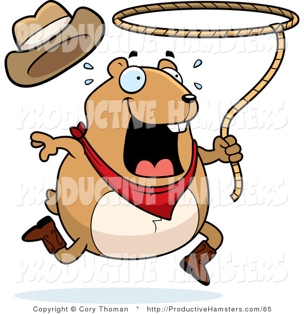 Illustration of a Chubby Rodeo Hamster Swinging a Lasso