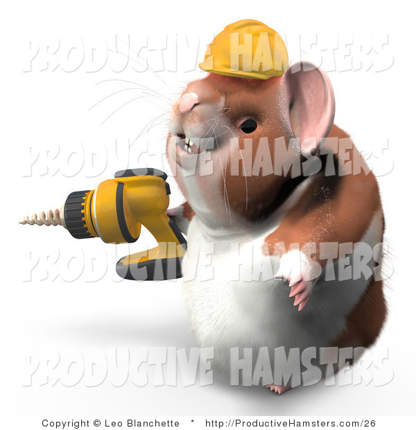 Illustration of a Construction Hamster Wearing a Hardhat and Operating a Drill