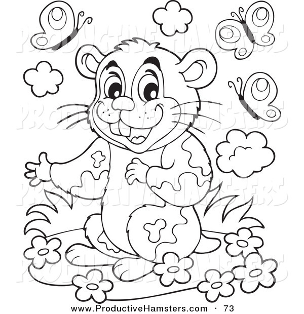 Illustration of a Cute Black and White Hamster with Flowers and Butterflies