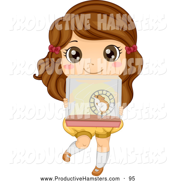 Illustration of a Cute Brunette Girl Carrying a Hamster Cage