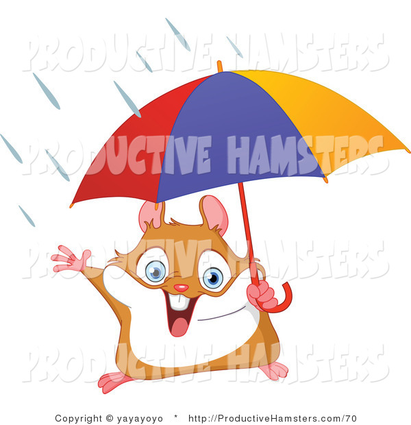 Illustration of a Cute Hamster Holding an Umbrella in the Rain