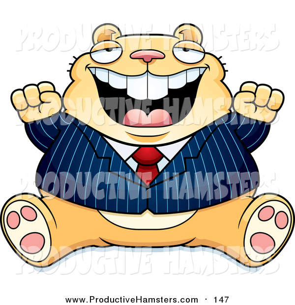 Illustration of a Fat Tan Business Hamster Sitting and Cheering