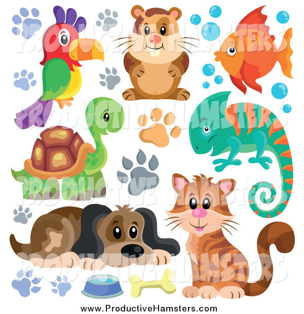 Illustration of a Hamster, Dog, Parrot, Fish, Chameleon, Tortoise, and Cat with Paw Prints