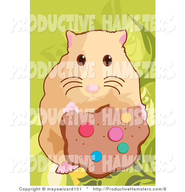Illustration of a Hamster Eating a Cookie