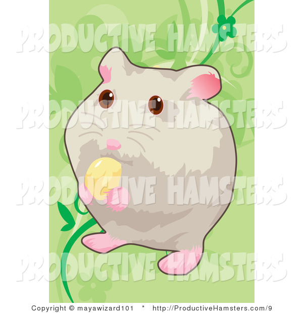 Illustration of a Hamster Eating Food