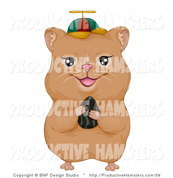 Illustration of a Hamster Holding a Seed and Wearing a Spinner Hat