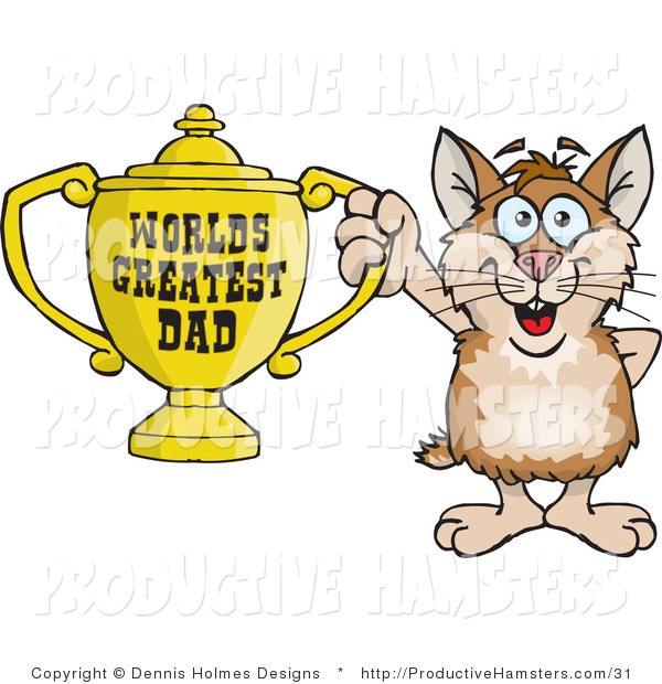 Illustration of a Hamster Holding a Worlds Greatest Dad Trophy