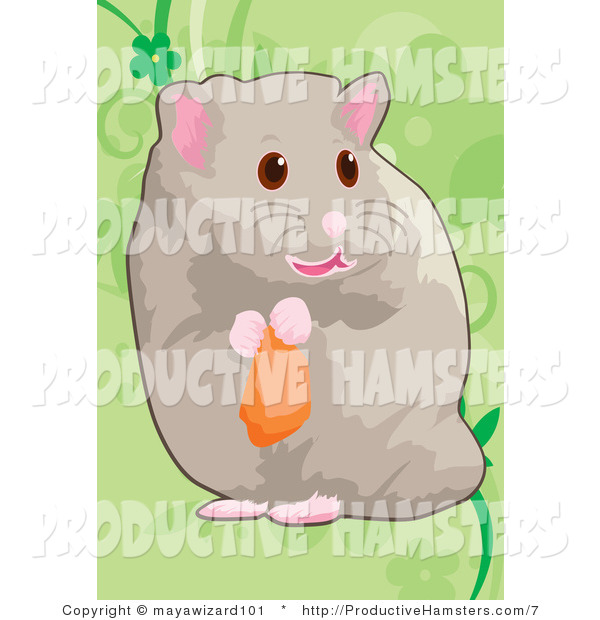 Illustration of a Hamster Nibbling on Food
