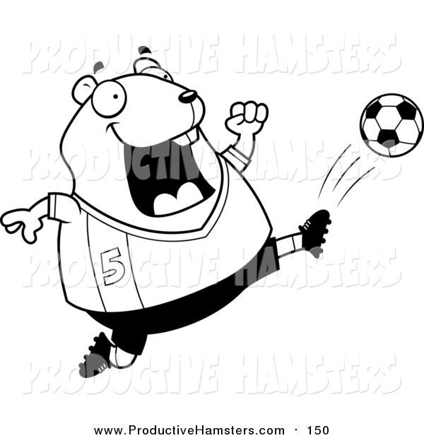Illustration of a Lineart Chubby Hamster Kicking a Soccer Ball