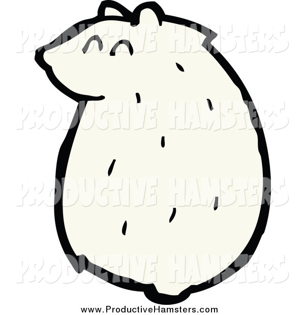 Illustration of a Sitting Chubby White Hamster