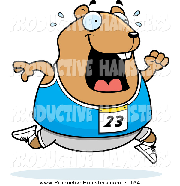 Illustration of a Sweaty Chubby Hamster Running a Track and Field Race