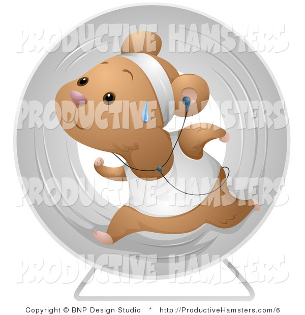 Illustration of a Sweaty Hamster Running in a Wheel and Listening to Music