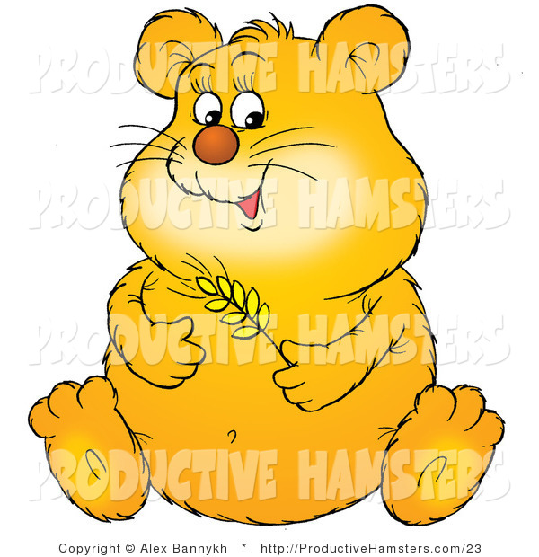 Illustration of an Obese Hamster Holding Wheat