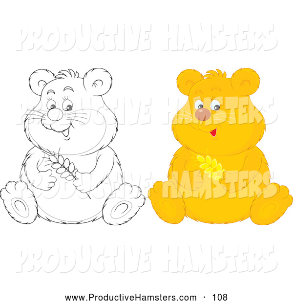 Illustration of an Outlined and Colored Hamster Sitting