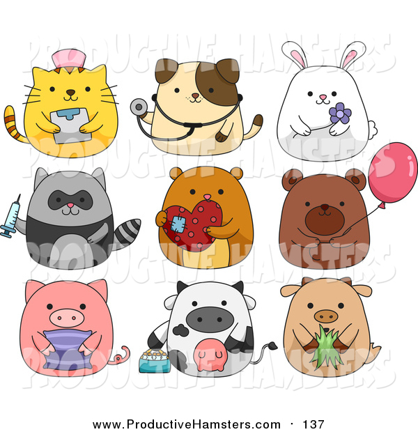 Illustration of Cute Animals with Props