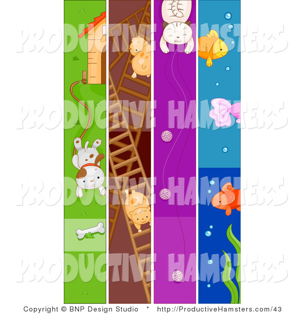 Illustration of Dog Hamster Cat and Fish Pet Banners