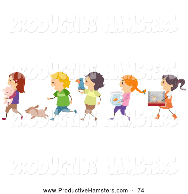 Illustration of Happy Children Taking Their Pets to School Show and Tell