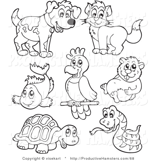 Illustration of Outlined Pets and Hamster