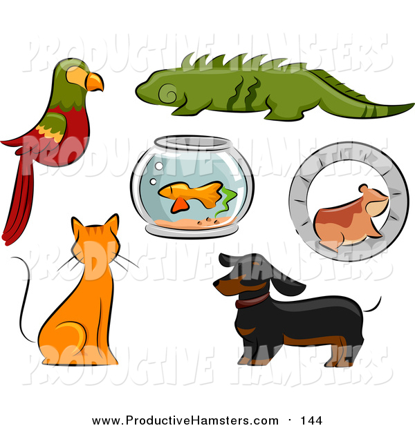 Illustration of Parrot, Iguana, Fish Bowl, Hamster, Ginger Cat and Dachshund Dog