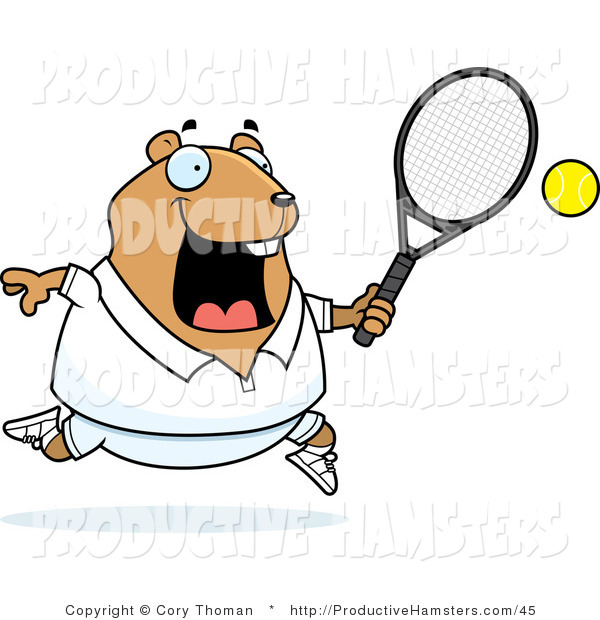 Vector Illustration of a Fat Cartoon Hamster Playing Tennis