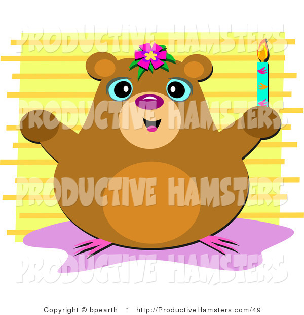 Vector Illustration of a Smiling Hamster Holding a Candle over Yellow Stripes Background