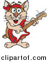 Illustration of a Cartoon Happy Brown Hamster Playing an Electric Guitar by Dennis Holmes Designs