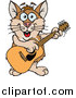 Illustration of a Cartoon Happy Tan and Brown Hamster Playing an Acoustic Guitar by Dennis Holmes Designs