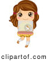 Illustration of a Cute Brunette Girl Carrying a Hamster Cage by BNP Design Studio