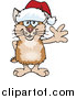 Illustration of a Friendly Waving Tan and Brown Hamster Wearing a Christmas Santa Hat by Dennis Holmes Designs