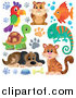Illustration of a Hamster, Dog, Parrot, Fish, Chameleon, Tortoise, and Cat with Paw Prints by Visekart