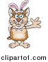 Illustration of a =Waving Hamster Wearing Easter Bunny Ears by Dennis Holmes Designs