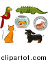 Illustration of Parrot, Iguana, Fish Bowl, Hamster, Ginger Cat and Dachshund Dog by BNP Design Studio